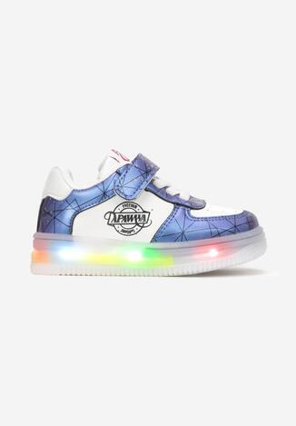 Granatowe Buty Sportowe LED Genenig