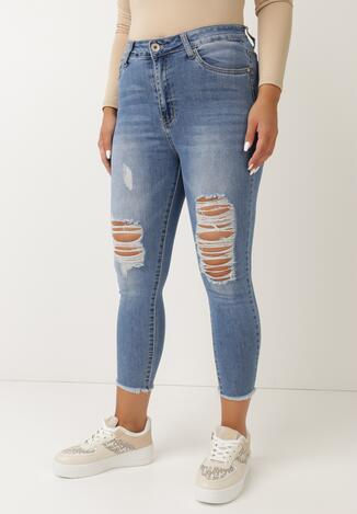 Niebieskie Jeansy Skinny Derosen