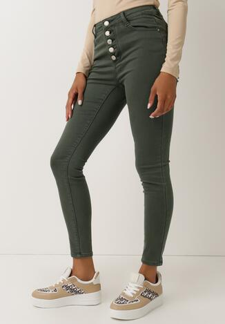 Ciemnozielone Spodnie Skinny Galline