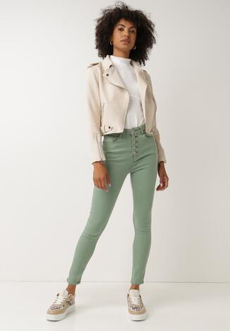 Miętowe Spodnie Skinny Fuandoc