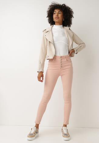 Różowe Spodnie Skinny Fuandoc