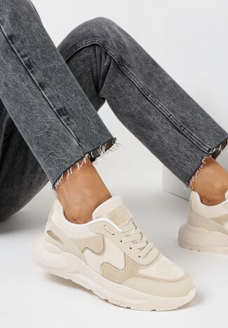 Beżowe Sneakersy Keiro