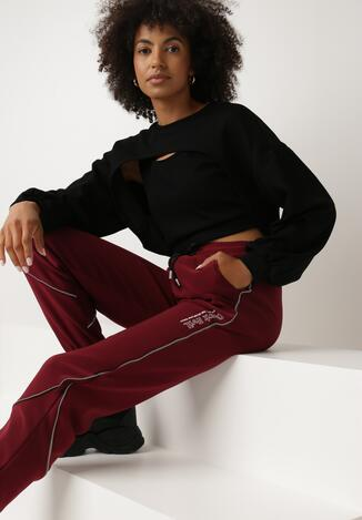 Bordowe Spodnie Dresowe Bewetel