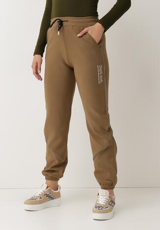 Ciemnobeżowe Spodnie Dresowe Bewetel