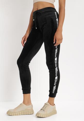 Czarne Spodnie Welurowe Hidustro