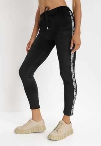 Czarne Spodnie Welurowe Tanrith