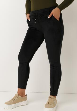 Czarne Spodnie Welurowe Erezen