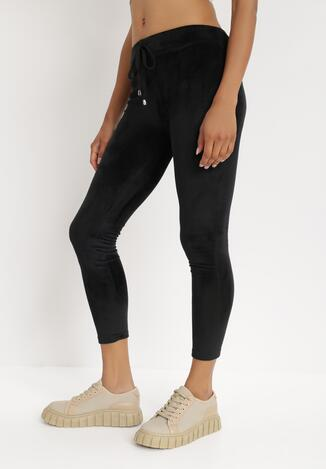 Czarne Spodnie Welurowe Tanwetel