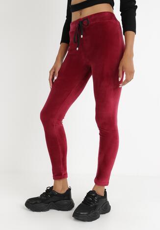 Bordowe Spodnie Welurowe Tanwetel