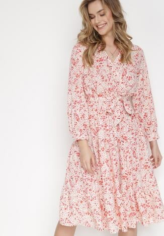 Beżowo-Czerwona Sukienka Rhaenophe