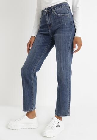 Niebieskie Jeansy Straight Peisilacia