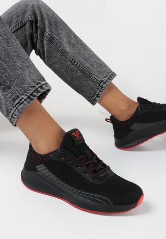Czarno-Czerwone Buty Sportowe Pisixiope