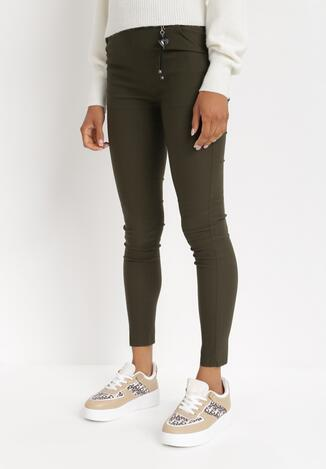 Ciemnozielone Spodnie Skinny Marinah
