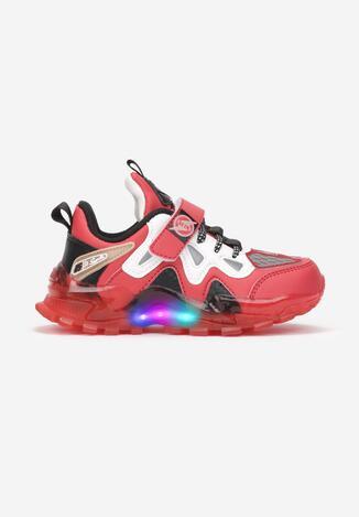 Beżowo-Czerwone Buty Sportowe LED  Sketyai