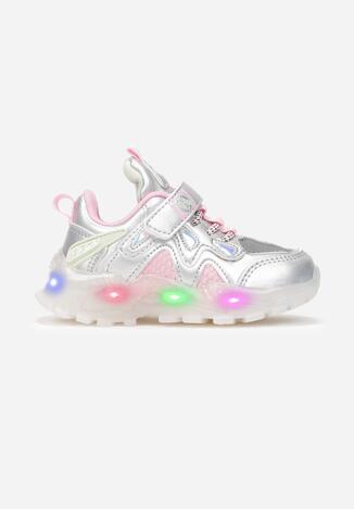 Srebrno-Różowe Buty Sportowe LED  Tsovla