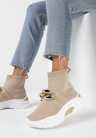Beżowe Sneakersy Echoma