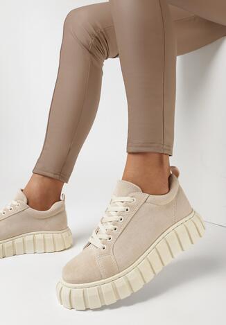Beżowe Sneakersy Allushi