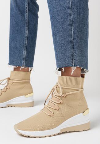 Ciemnobeżowe Sneakersy Eremiel