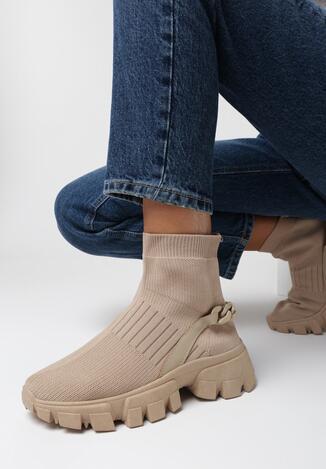 Ciemnobeżowe Sneakersy Raffaeh
