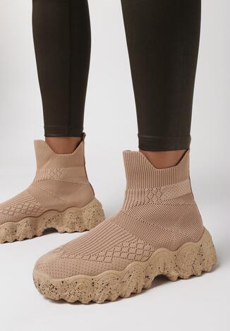 Ciemnobeżowe Sneakersy Hiqinn
