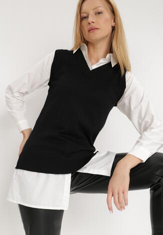 Biało-Czarna Koszula Z Kamizelką Hiqinn