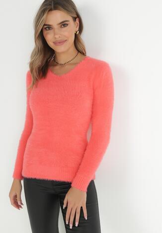 Koralowy Sweter Z Wełną Panaris