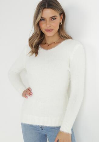 Biały Sweter Z Wełną Panaris