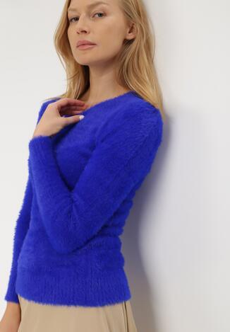 Granatowy Sweter Z Wełną Panaris
