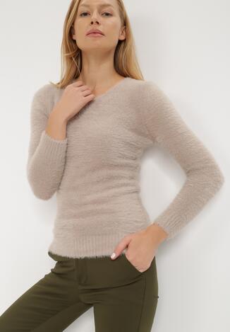 Jasnobeżowy Sweter Z Wełną Panaris