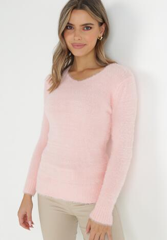 Jasnoróżowy Sweter Z Wełną Panaris