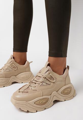 Ciemnobeżowe Sneakersy Haidima