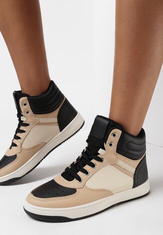 Beżowo-Czarne Sneakersy Achyse