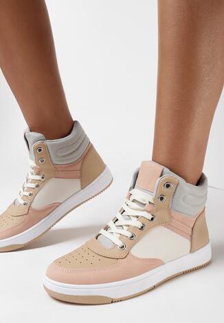 Beżowo-Różowe Sneakersy Achyse