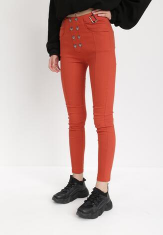 Pomarańczowe Spodnie Skinny Alcelos