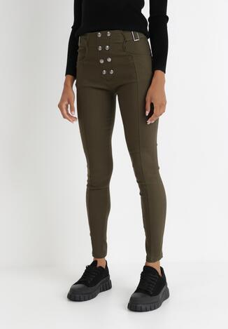 Ciemnozielone Spodnie Skinny Alcelos