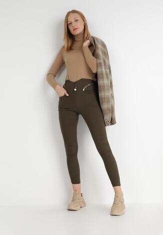 Ciemnozielone Spodnie Skinny Metolis