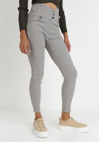 Szare Spodnie Skinny Metolis