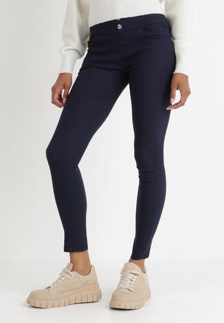 Granatowe Spodnie Skinny Khlorede