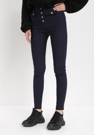Granatowe Spodnie Skinny Isora