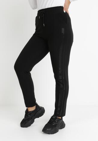 Czarno-Srebrne Spodnie Dresowe Phoebima