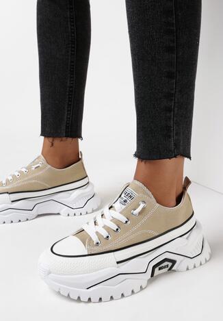 Ciemnobeżowe Sneakersy Pronenope