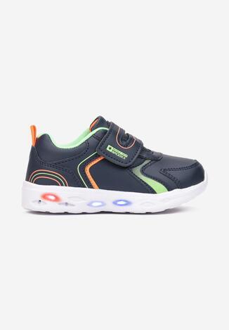 Granatowo-Zielone Buty Sportowe LED Nereida