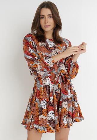 Biało-Brązowa Sukienka Clivia
