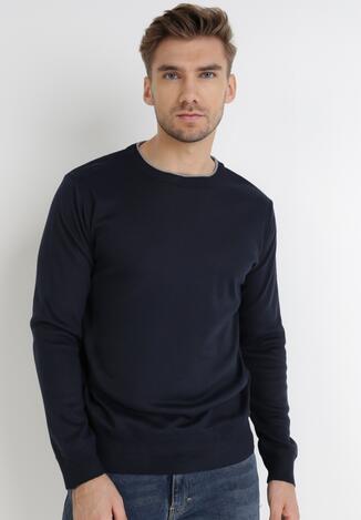 Granatowy Sweter Z Wełną Appesilea