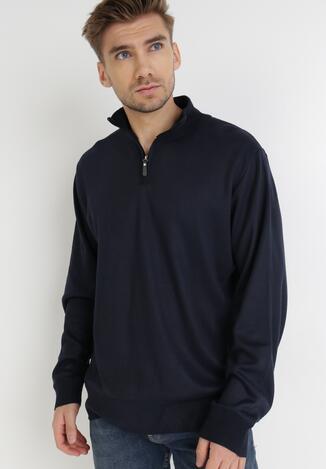 Granatowy Sweter Z Wełną Avoah