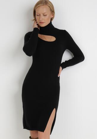 Czarna Sukienka Dzianinowa Astania