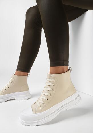 Beżowe Sneakersy Corano