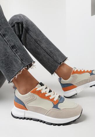 Beżowe Buty Sportowe Chionania