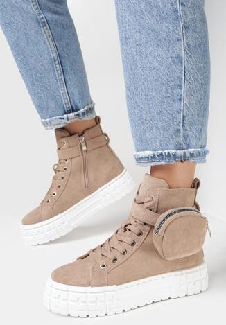Ciemnobeżowe Sneakersy Delyle