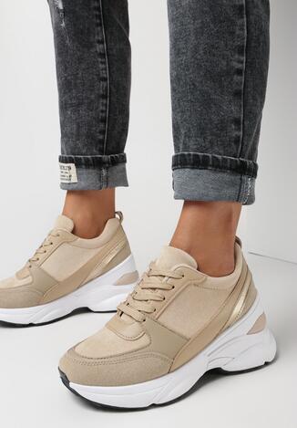 Beżowe Sneakersy Lalea
